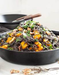 Gluten Free Black Bean Spaghetti with Roasted Butternut Squash