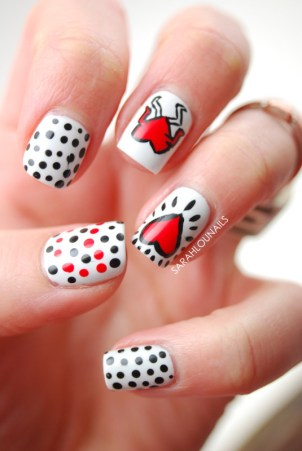 Keith Haring Valentine's Day Nails Design