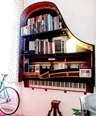 Recycled Old Grand Piano As A Bookshelf