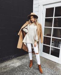 Camel Coat, Cream Oversized Sweater, Destroyed Skinny Jeans & Camel Booties