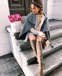 Grey Cape, Cream Knit, Brown Boots & Grey Skirt
