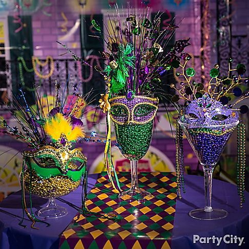 Mardi Gras Cocktail Glasses