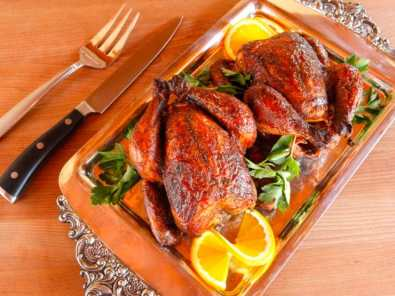 Marinated Cornish Game Hens - Small Roasted Chickens with Orange and Spices