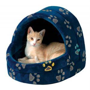 """Домик для кота """"Jimmy"""" с рисунком лапок Trixie синий/серый плюш 40х35х35 см."""
