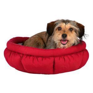 """Лежак круглый для собак """"Leona"""" Trixie красный/серый микрофибра/плюш 45 см."""