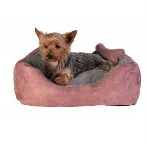 """Лежак с игрушкой косточкой для собак """"Chippy"""" Trixie розовый/серый искусственная замша 40х40х15 см."""
