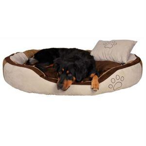 """Лежак с подушкой для собак """"Bonzo"""" Trixie бежевый/коричневый искусственная замша"""