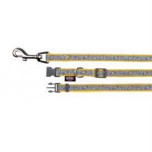"""Поводок и ошейник для собак """"Конфетки"""" желтый светящийся Trixie XS-S 22-35 см./10 мм; поводок 1,2 м."""