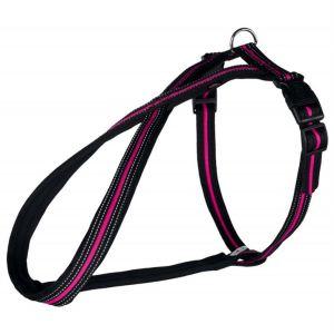 """Шлея-восьмерка для собак """"Fusion"""" нейлон Trixie светоотражающая черная/розовая"""
