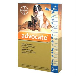 Адвокат капли от заражений эндо и экто паразитами для собак (от 25 кг) Bayer Advocate