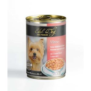 Влажный корм для собак Edel Dog нежные кусочки в соусе, три вида мяса 1,2 кг.