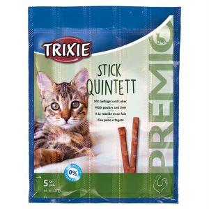 "Лакомство для кошек – ""PREMIO Quadro-Sticks"" домашняя птица и печень Trixie 5 шт.х5 гр."