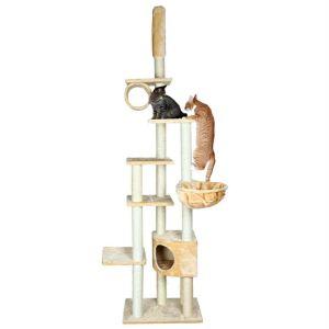 """Дряпка для кошек с потолочным креплением """"Madrid"""" Trixie серая, бежевая 245-270 см."""