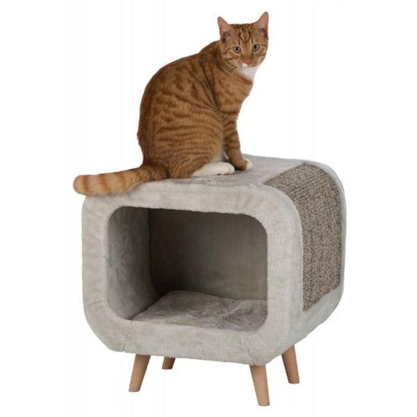 """Дряпка-дом для кошек """"Alicia"""" Trixie светло-серая 48х48х38 см."""