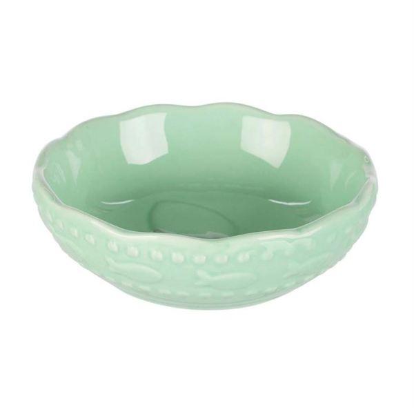 Миска для кошек Trixie зелёная, розовая керамическая 0,25 л./13 см.