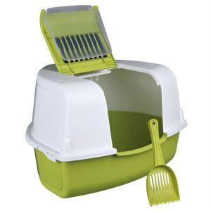 """Туалет для кошек закрытый угловой с дверью и лопаткой """"Tadeo Open Top"""" Trixie зеленый/белый 58 x 38 x 50/50 см."""