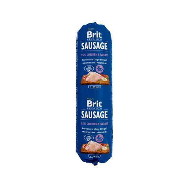 Консервы для собак Brit Premium Dog Sausage CHICKEN & RABBIT колбаса с курицей и кроликом 800 гр.