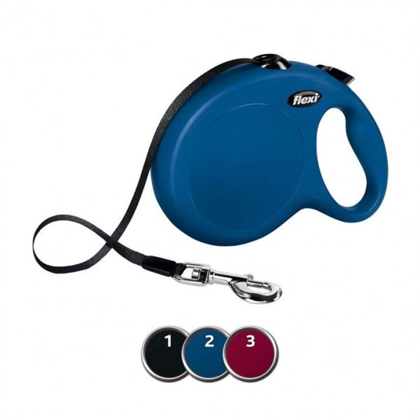 Рулетка Flexi NEW CLASSIC L 5 m./50 кг. (лента) красная, синяя, черная