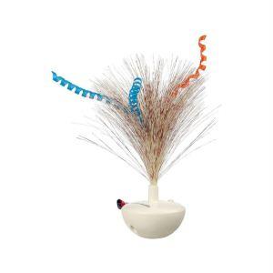 """Игрушка для кошек - Неваляшка с перьями """"Feather Wobble"""" Trixie 5×14 см. пластик"""