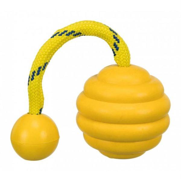 """Игрушка для собак Мяч аппортировочный на канате """"Sporting wavy"""" Trixie 7х22 см., натуральная резина, желтый"""