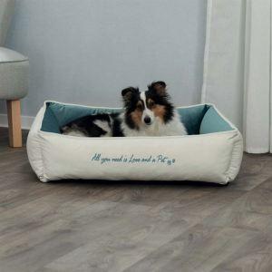 """Лежак для собак """"Pet's Home"""" Trixie с сердечком, кремовый/синий, вельвет"""