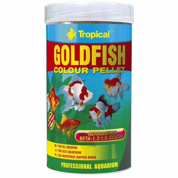 Сухой корм для аквариумных рыб в гранулах Tropical Goldfish Color Pellet (для золотых рыбок) 250 мл.