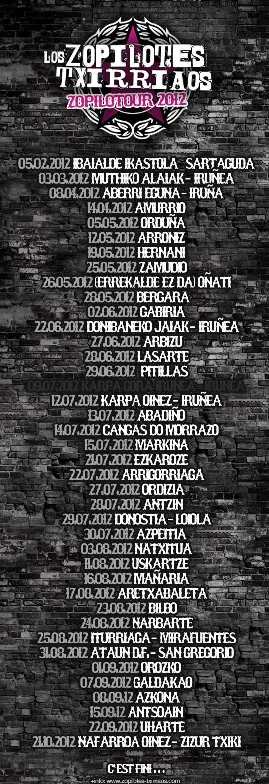 Lista de conciertos