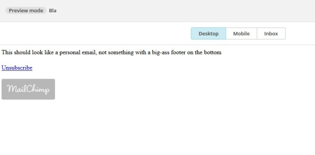 email when you remove Mailchimp footer