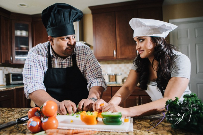 Who's The Chef? Rupal + Krishna = Food Fight Engagement Session by Zorz Studios (22)