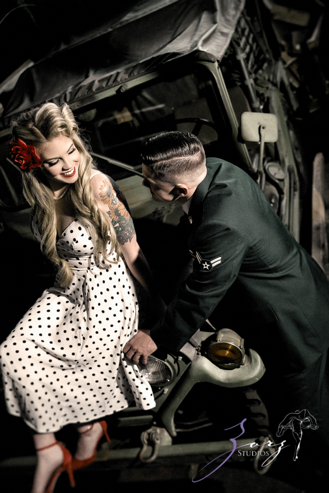 Pin-up Wings: Sam + Connor = Vintage Military Engagement Shoot by Zorz Studios (9)