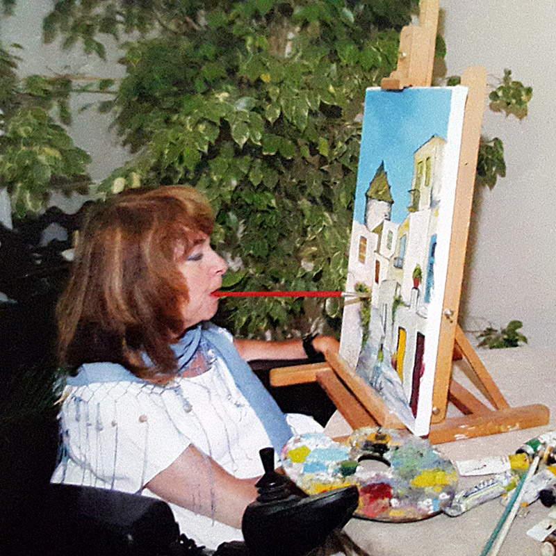 Μαρία Αποστόλου, Ζωγραφική με το στόμα και το πόδι
