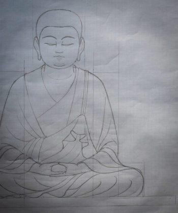 僧形文殊菩薩坐像の下絵