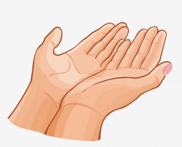 dłonie rozłożone w prośbie
