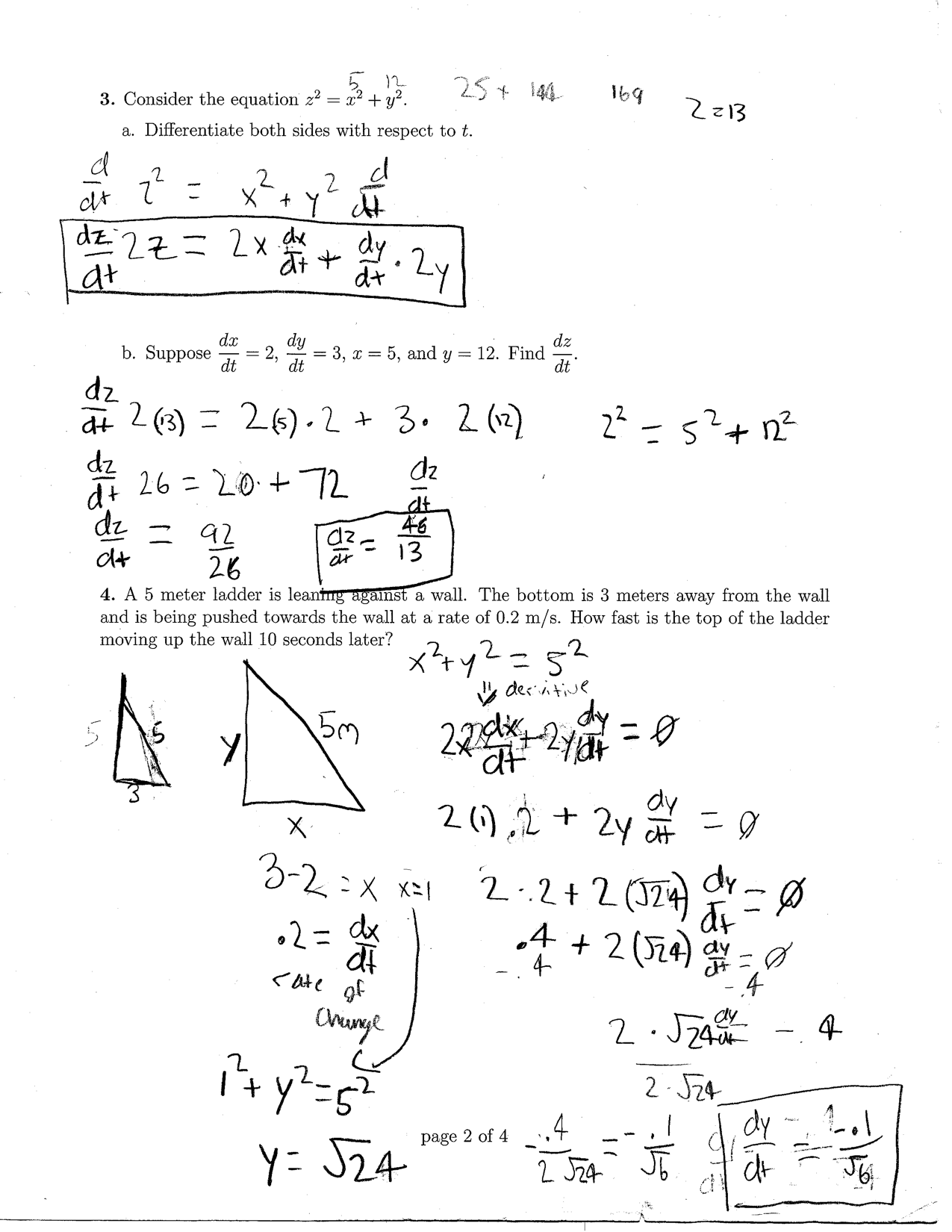 Related Rates Problems