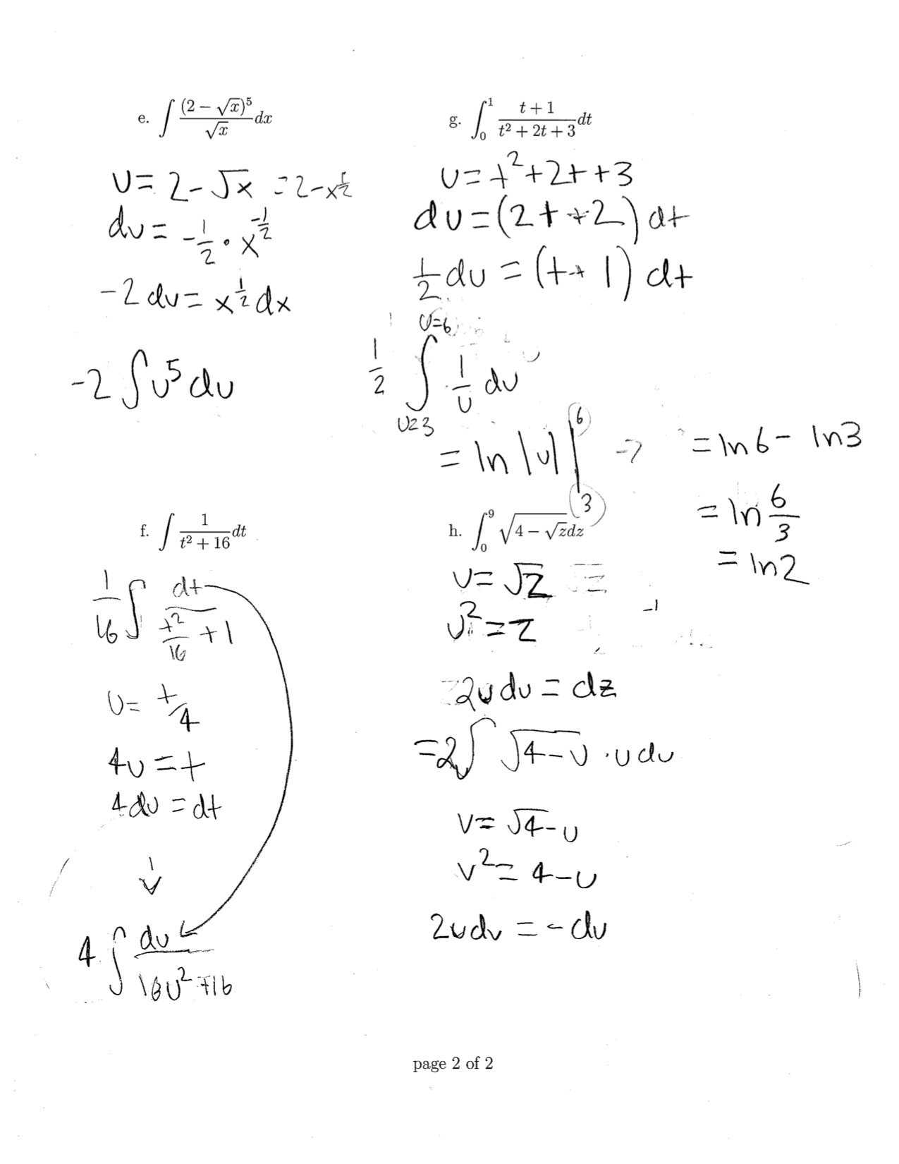 Anti Derivitives Definite Intervals And U Substitutions
