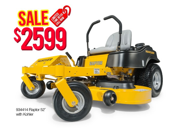 "Hustler 934414 Raptor 52"" with Kohler $2,599"
