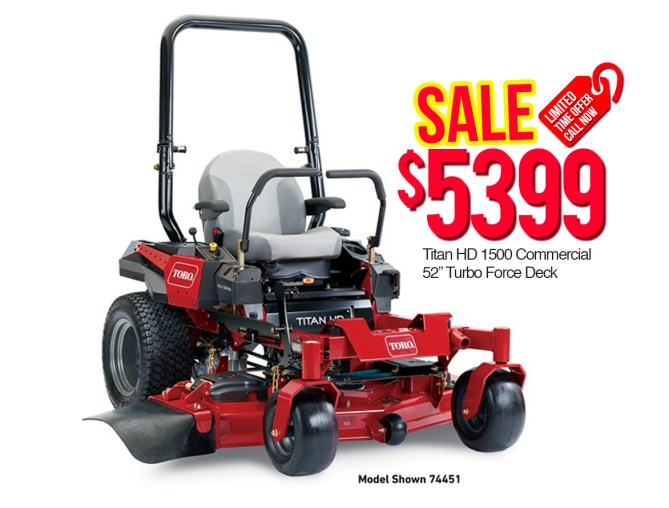 "Toro - 74451 - Titan - HD - 1500 - Commercial - 52"" - Turbo Force Deck"