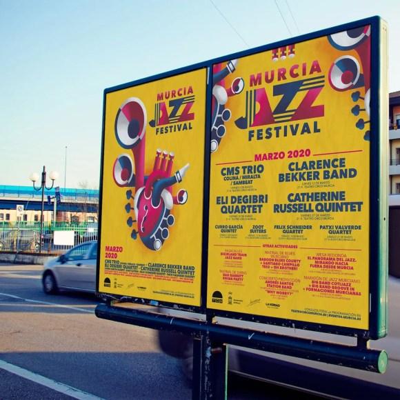 Mupi principal y de programación Murcia Jazz Festival.