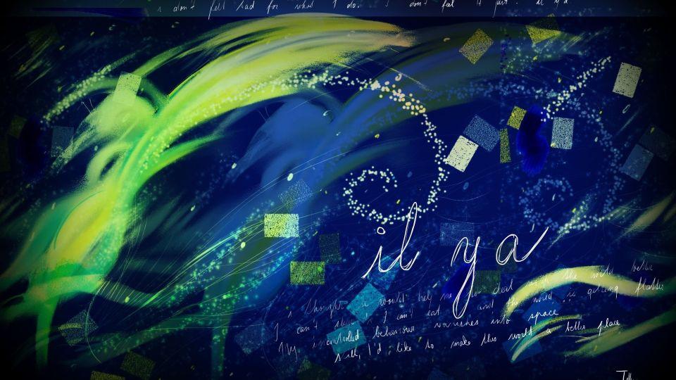 Abstraktní digitální tmavomodrá malba, ve které je nápis Il y a.