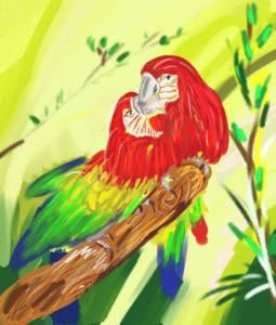 Digitální malba dvou červenoých papoušků ara, kteří se vzájemně dotýkají zobáky,.