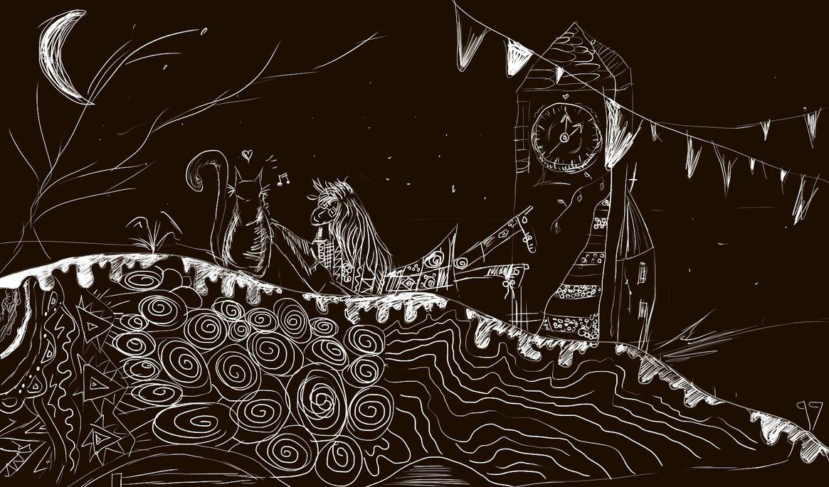 Černobílá digitální malba holky, která leží na kopci a za ní stojí obrovská věž s hodinami. Je noc.