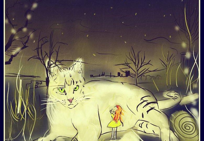 Zrzavá holka, za kterou stojí uprostřed noci obrovská bílá kočka - digitální malba