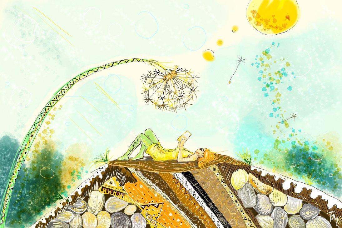 Zrzavá holka leží na hoře, velmi detailně vyvedené, a nad ní se sklání obrovská odkvetlá pampeliška, z které odlétají drobná smítka se semínky.