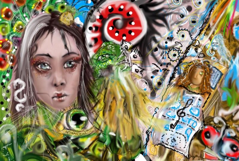 Digitální malba obličeje a spousty detailů, očí, vlnek a spící postavy v pozadí pod modrou dekou.