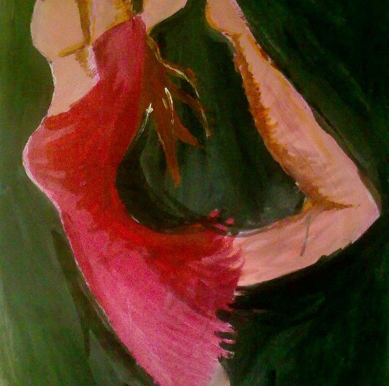 malba na papíře - na tmavém pozadí tančí dívka v červených šatech balet.