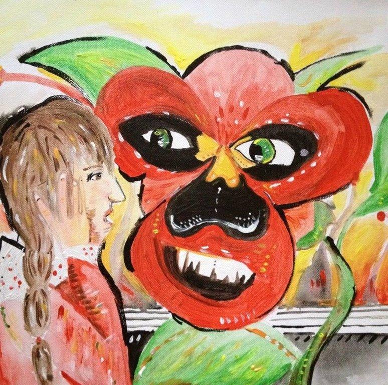 Malba na plátno podobná výjevu z Alenky v říši divů - dívka s dlouhým hnědým copem zděšeně kouká na velikou rudou macešku, která má oči a ústa s velkými zuby.