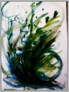 Abstraktní malba větru - modrozelený točivý vír uprostřed výkresu.