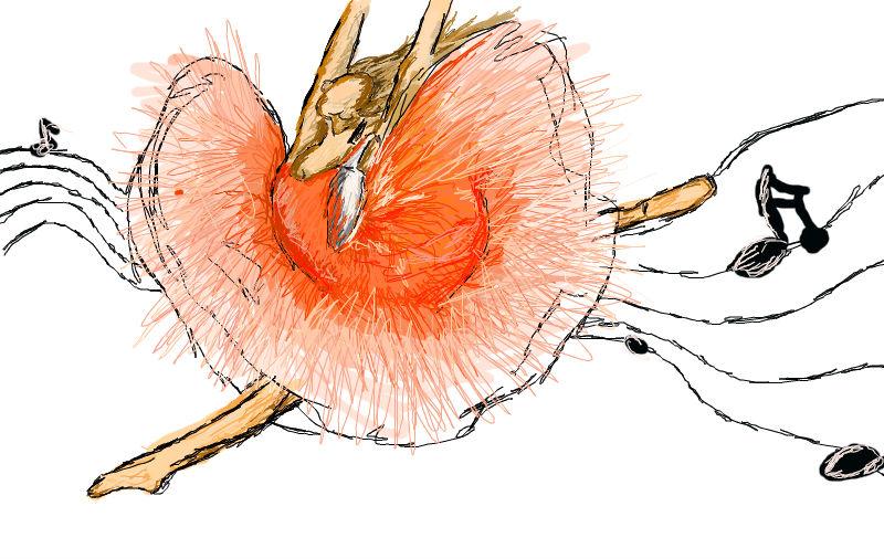 Digitální malba baletky v obrovských růžových šatech uprostřed skoku, za ní se line notová osnova.