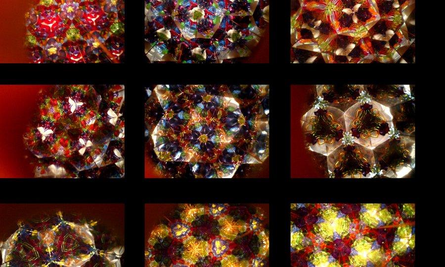 Fotky z vlastnoručně vyrobeného kaleidoskopu.