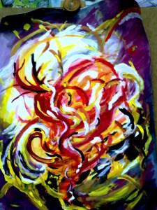 Abstraktní malba - oheň ze spousty barevných červených černých a žlutých čárek ve víru na černém pozadí.
